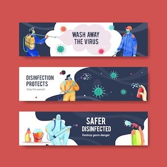 Satz coronavirus-sicherheitsbanner