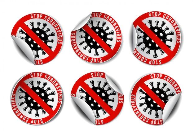 Satz coronavirus-symbol mit rotem verbotszeichen auf aufkleberetiketten