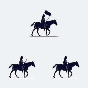 Satz cowboys reitet pferdesilhouette Premium Vektoren