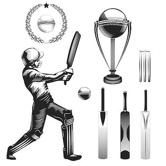 Satz cricketspieler und seine ausrüstung auf weiß isoliert.