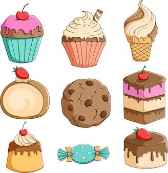 Satz cupcake, eiscreme und pudding mit buntem handgezeichnetem stil