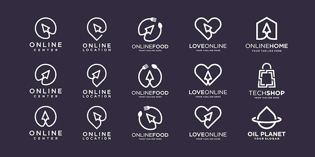 Satz cursor-technologie logo-design
