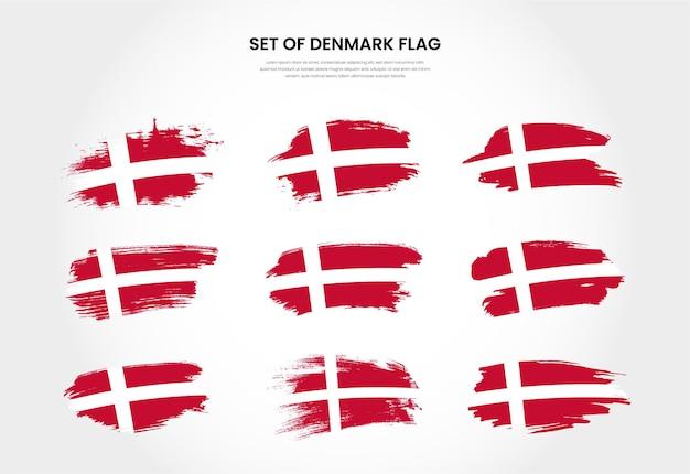 Satz dänemark country grunge pinsel strich flaggen sammlung