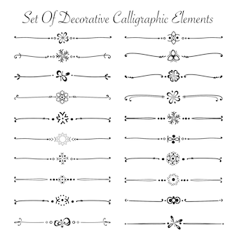 Satz dekorative kalligraphische elemente für die dekoration. handgemacht.