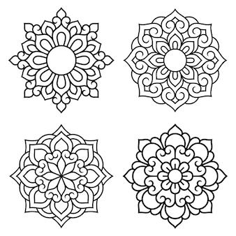 Satz dekorative mandalasymbole. musterelemente zum laser- und plotterschneiden, prägen, gravieren, bedrucken von kleidung. ornamente für henna-zeichnungen im orientalischen stil.