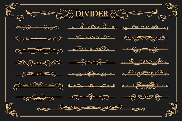 Satz dekorative teiler der luxuxweinlese mit strudel- und blumendesign für hochzeitseinladung.