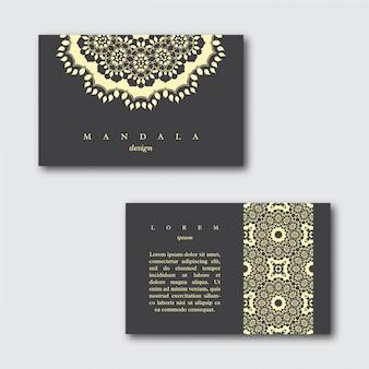 Satz dekorative visitenkarten mit mandala