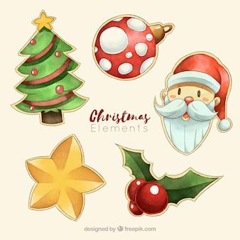 Satz dekorative weihnachtselemente