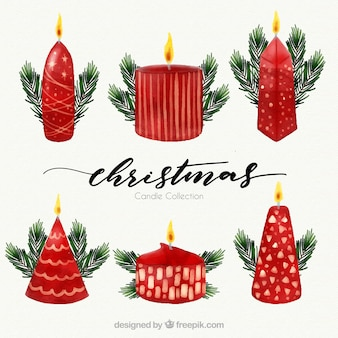 Satz dekorative weihnachtskerzen des aquarells