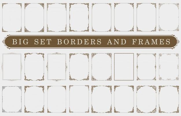 Satz dekorative weinleserahmen und -grenzen