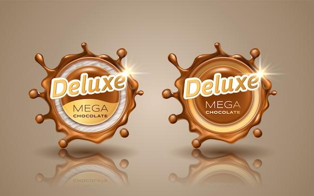 Satz deluxe-design-etiketten in goldfarbe lokalisiert auf hintergrund