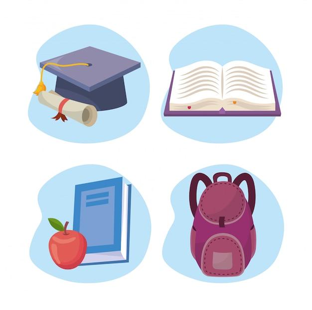Satz der abschlusskappe mit diplom und des buches mit apfel und rucksack