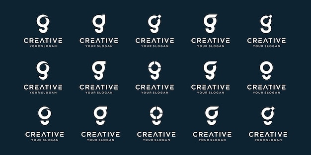 Satz der abstrakten anfangsbuchstaben-g-logo-vorlage.