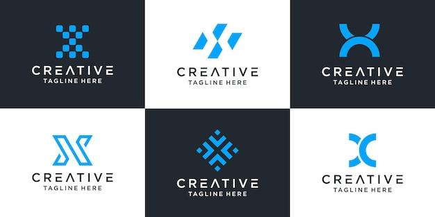Satz der abstrakten entwurfsinspiration des kreativen buchstaben x logos