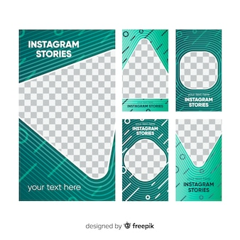 Satz der abstrakten instagram geschichtenschablone