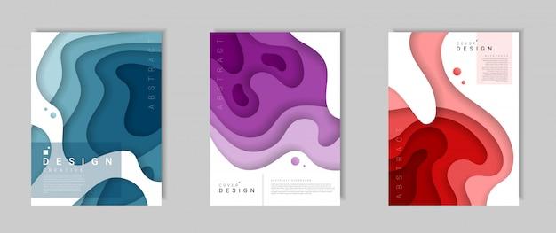 Satz der abstrakten modernen abdeckungsschablone mit dynamischen farbigen formen und wellen