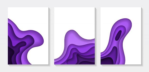 Satz der abstrakten papierkunstillustration der hintergrundfarbe 3d.