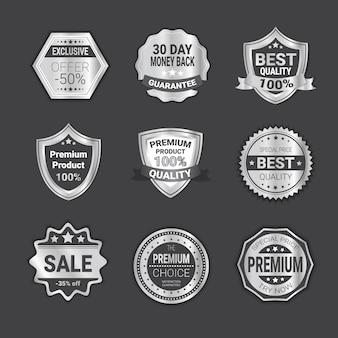 Satz der abzeichen-verkaufs-oder qualitätsschild-emblem sammlung