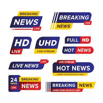Satz der aktuellen nachrichtenfahnenschablone entworfen in blau rot und gelb in verschiedenen verschiedenen formen und stilen.