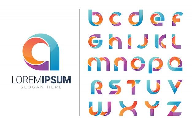 Satz der alphabetlogo-ikonenschablone