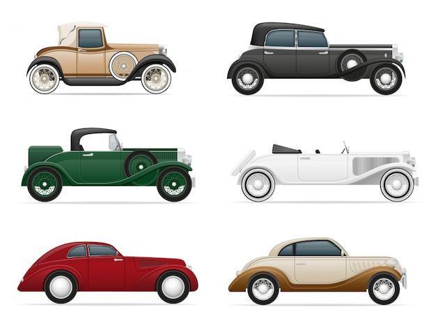 Satz der alten retro- autovektorillustration
