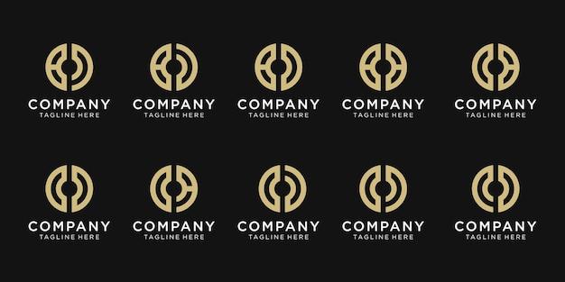 Satz der anfangsbuchstaben-h-logo-vorlage.