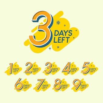 Satz der anzahl tage verbleibender countdown-vorlage