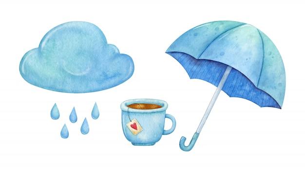 Satz der aquarellwolke, des regens, der tasse tee und des regenschirmes
