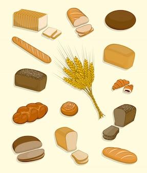 Satz der bäckerei und der süßigkeiten auf einem weißen hintergrund.
