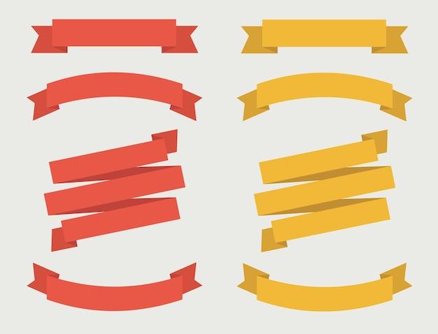 Satz der bandfahne in der roten und goldenen farbe.
