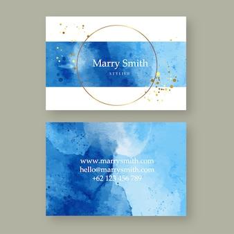 Satz der blauen abstrakten aquarellkarte