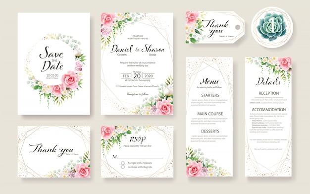 Satz der blumenhochzeit einladungskartenschablone. rosenblüte, grünpflanzen.