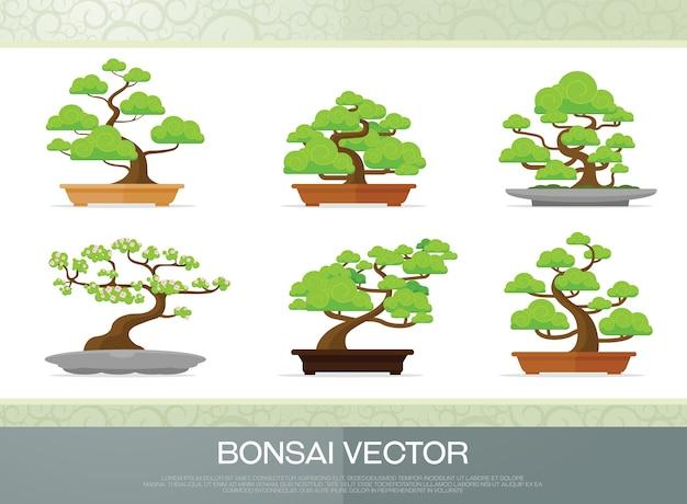 Satz der bonsaianlage in der flachen art des topfillustrationsvektors