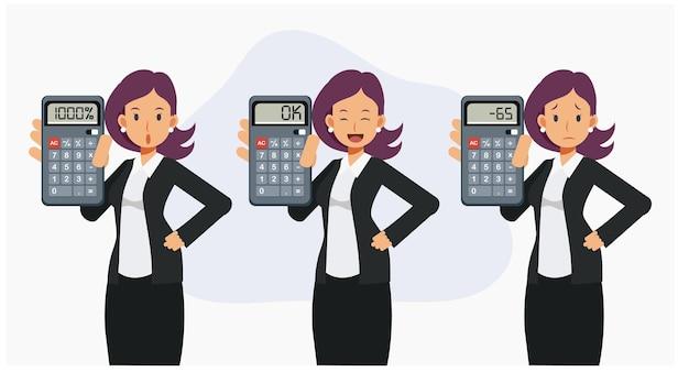 Satz der buchhalterin, geschäftsfrau zeigt das ergebnis der berechnung im rechnerbildschirm. finanzgeschäftsrechnerkonzept. flache vektorzeichentrickfilm-figurenillustrationen.