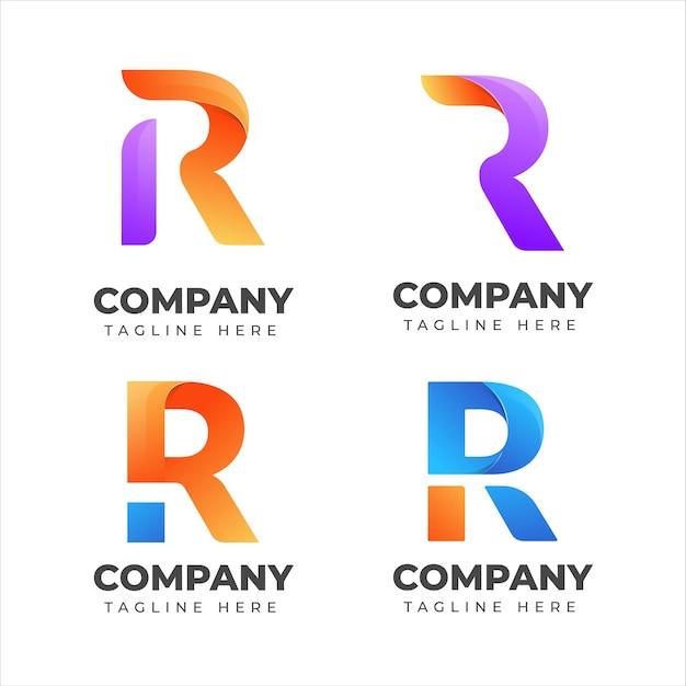 Satz der buchstaben-r-logo-sammlung mit buntem konzept für firma