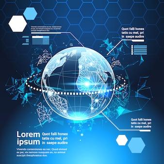 Satz der computer-futuristischen infographic-element-weltkugel-technologie-zusammenfassungs-hintergrund-schablone