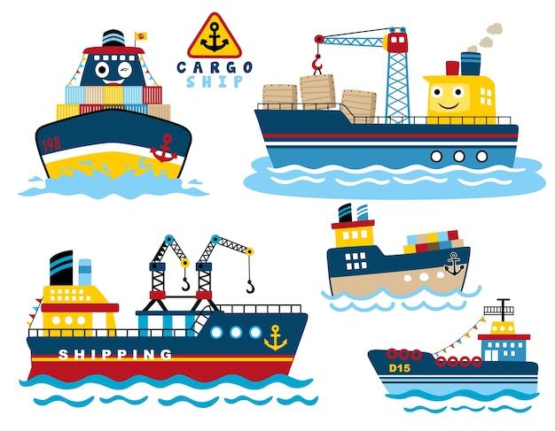 Satz der containerschiffkarikatur