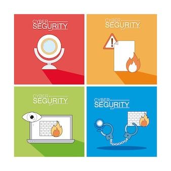Satz der cyber-sicherheitssymbolsammlung