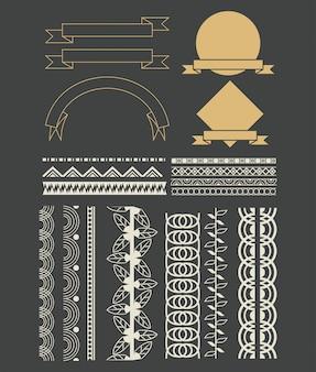 Satz der dekorativen bandkarikatur