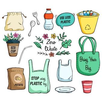 Satz der eco-tasche und gehen konzept-illustration grün