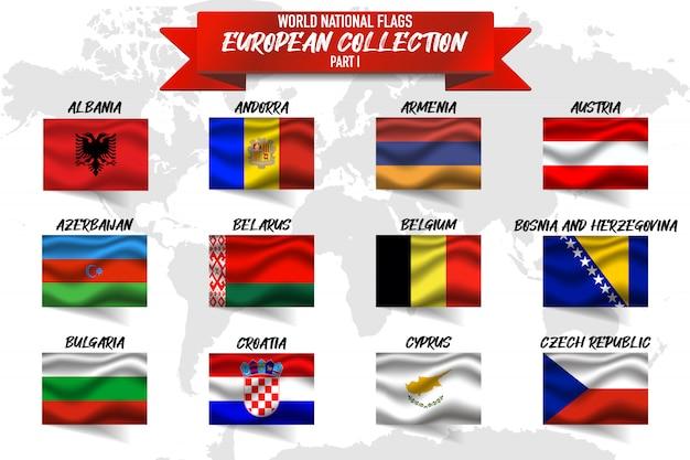Satz der europäischen landesnationalflagge auf weltkartenhintergrund.