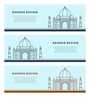 Satz der fahnenschablone mit islamischem design