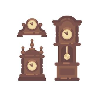 Satz der flachen illustration der alten weinleseborduhr