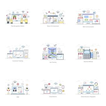 Satz der flachen illustration des e-geschäfts