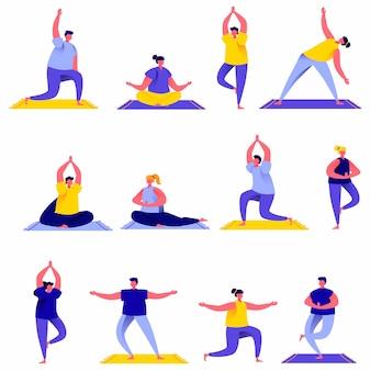 Satz der flachen leutegruppe, die yoga tut, übt charaktere aus