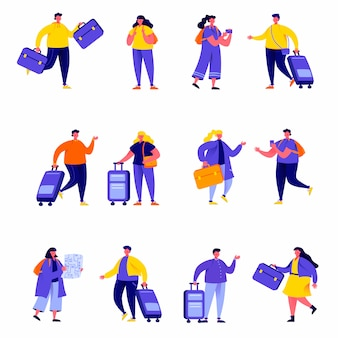 Satz der flachen leutepaarfamilie, die mit rucksackcharakteren reist