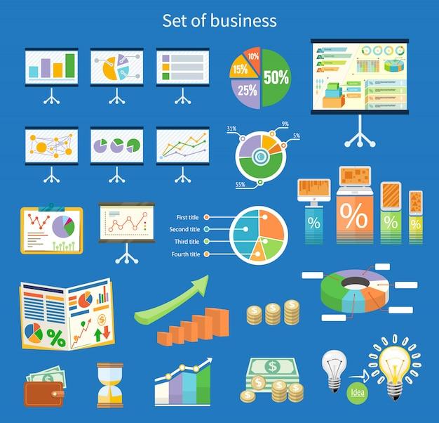 Satz der flip-chart mit zeichnungsgeschäftsdiagrammen. stativ mit diagrammen und parametern. geschäftskonzept von analytik in der flachen designart