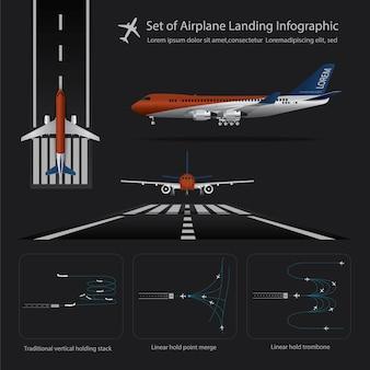 Satz der flugzeug-landung infographic lokalisierte vektor-illustration