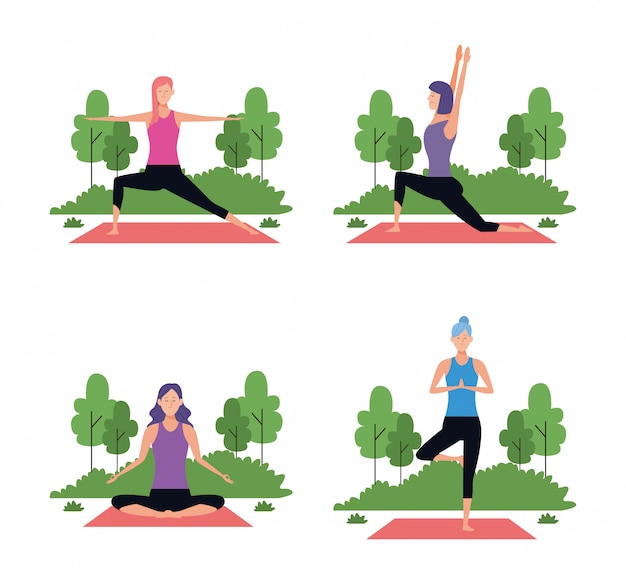 Satz der frau in den yogahaltungen