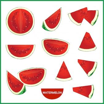 Satz der frischen wassermelone in den verschiedenen scheibenart-vektorformat